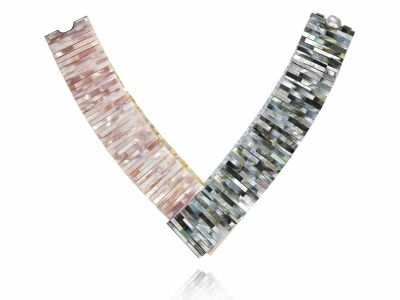 melanie-georgacopoulos-400x300 Melanie Georgacopoulos, Mother of Pearl Tile Four Colour Necklace