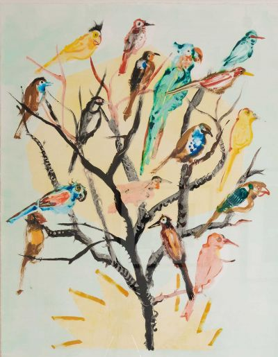 birds-400x515 Nicola Bealing, Bird Tree with Sun