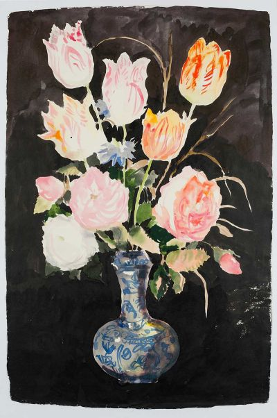 nicola-bealing-Flowers-in-a-Chinese-Vase-400x602 Works on paper