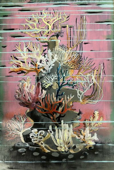 nicola-bealing_Pink-Coral-400x597 Nicola Bealing, Pink Coral Rock (Oil on board)